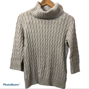 TOMMY HILFIGER grey cable knit cotton sweater